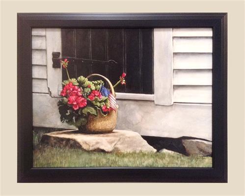 """July Geraniums"" original fine art by Kara K. Bigda"