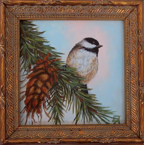 """Chickadee & Pinecone-(Framed)"" original fine art by Elizabeth Elgin"