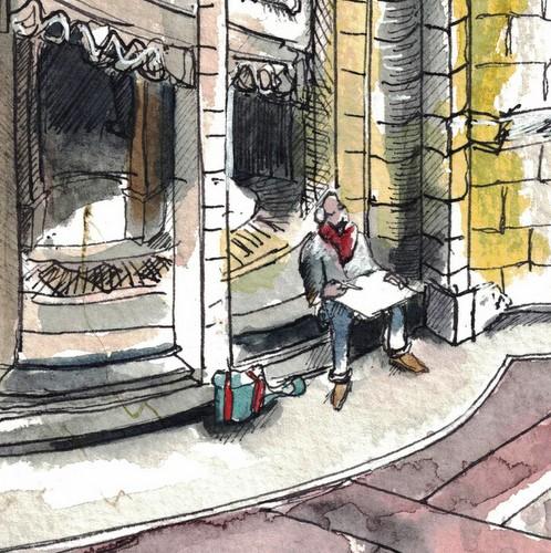 """3066 Town Hall Sitter"" original fine art by Dietmar Stiller"