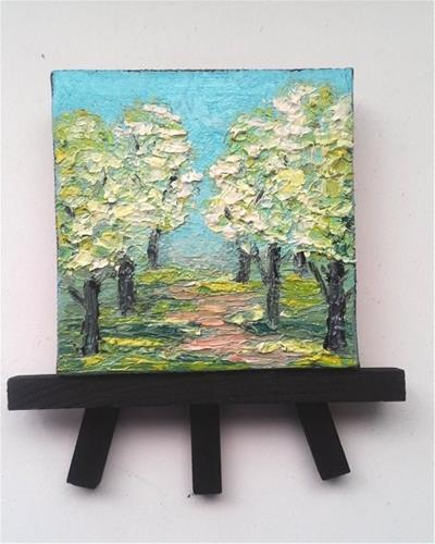 """Bradford Pear Trees"" original fine art by Camille Morgan"