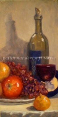"""""""Wine and Brie"""" original fine art by Judith Anderson"""
