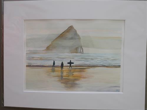 """Haystack Rock Sunset"" original fine art by Laura Denning"