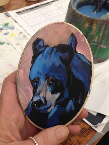 """""""Smug Bear"""" original fine art by Kat Corrigan"""