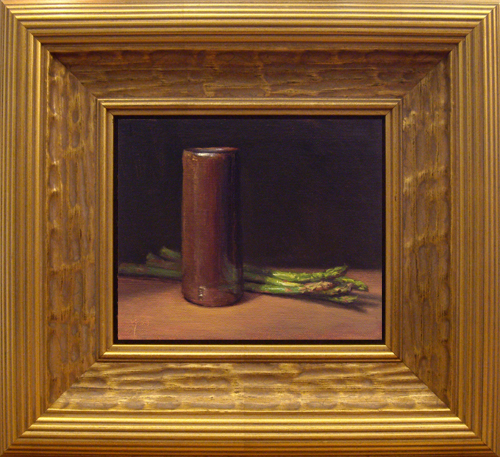 """Asparagus with Handmade Vase"" original fine art by Abbey Ryan"
