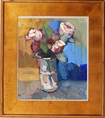 """3 Roses in a glass"" original fine art by Sally Rosenbaum"
