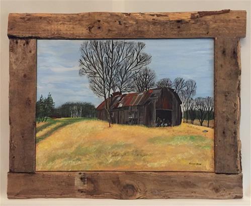 """Broken Barn"" original fine art by Helen Kuhn"