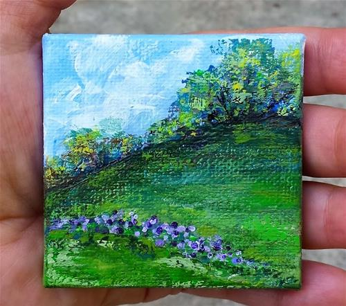 """Hilltop and Violets"" original fine art by Jodi Workman"
