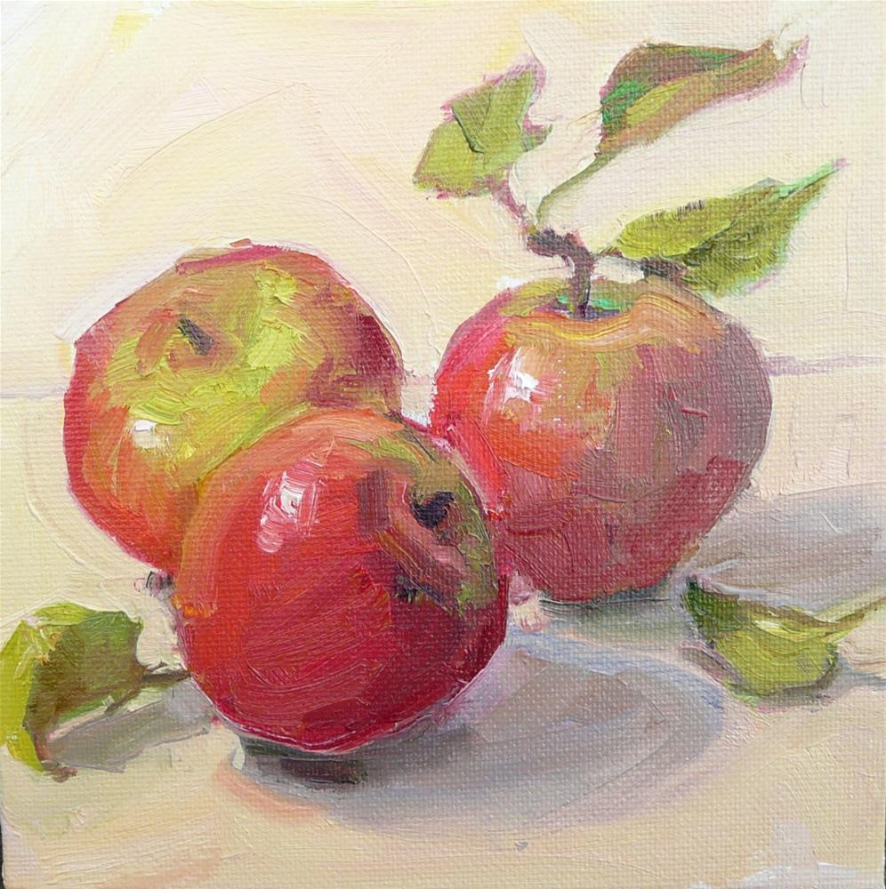 """Summer Reds Apples,still life,oil on canvas,6x6,price$200"" original fine art by Joy Olney"