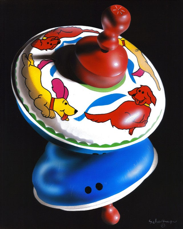 """Running Dogs Top in Shadows"" original fine art by Fred Schollmeyer"
