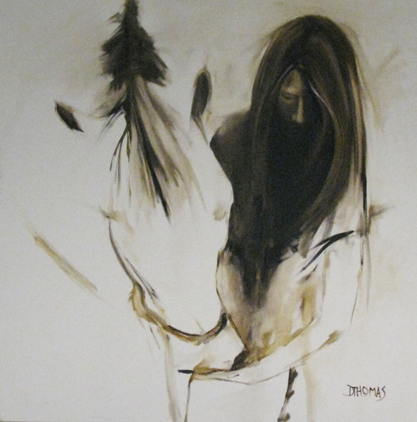 """""""Girl with White Horse"""" original fine art by Donna Thomas"""