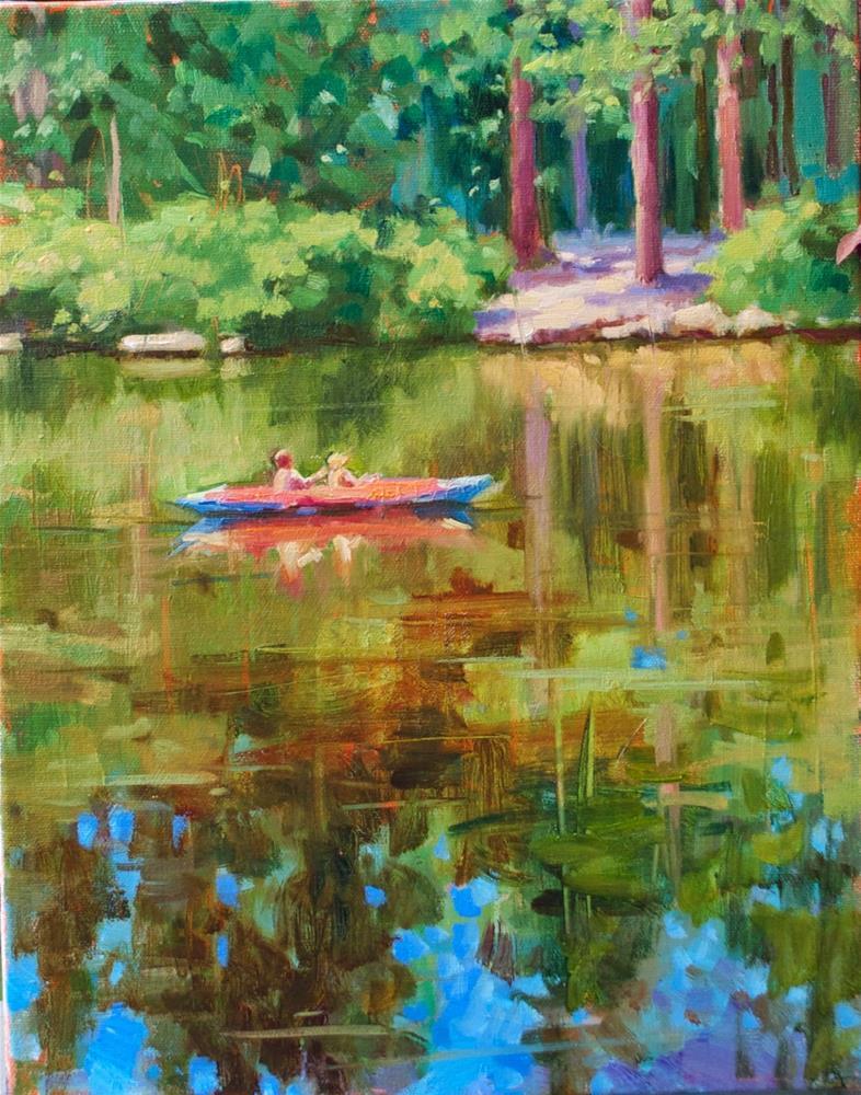 """RED CANOE"" original fine art by Emiliya Lane"
