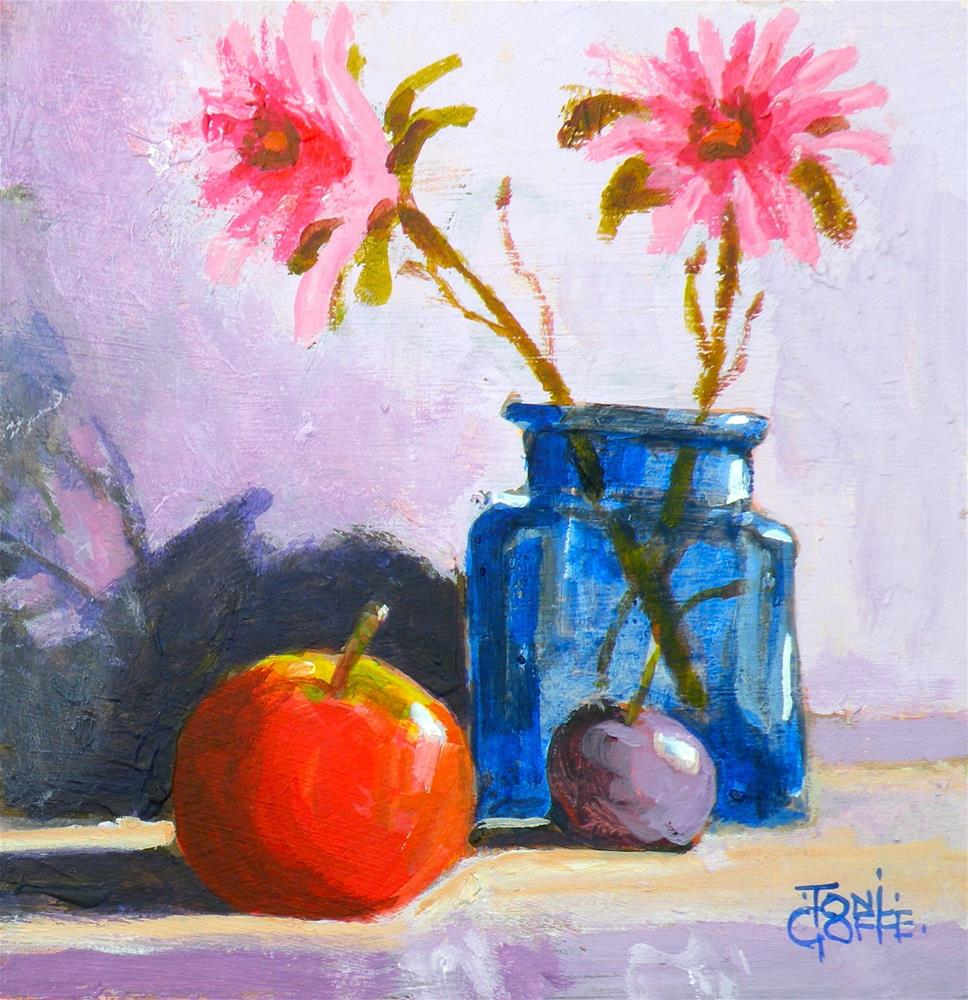 """""""Flowers and Apple"""" original fine art by Toni Goffe"""