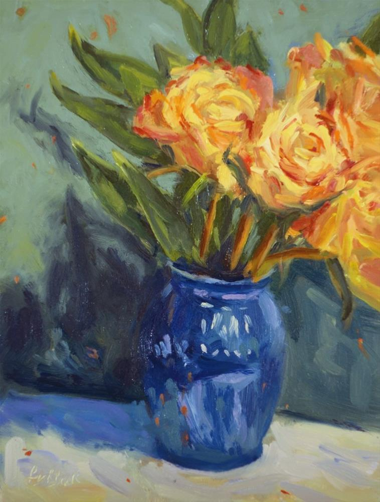 """Vase of Roses"" original fine art by Daniel Fishback"