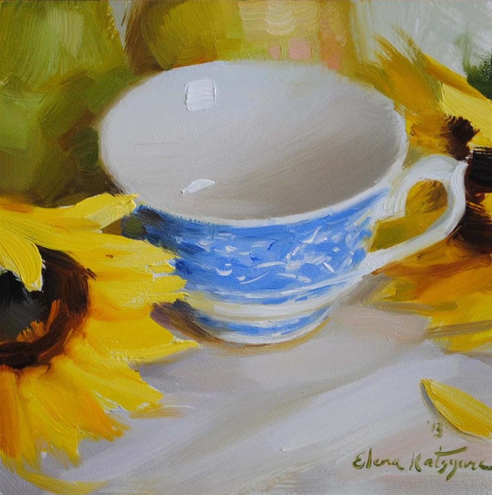 """Cup and Sunflowers"" original fine art by Elena Katsyura"