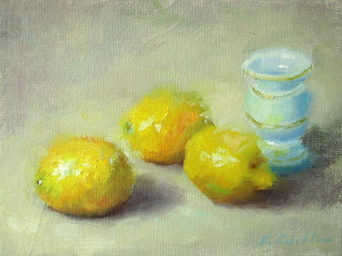 """Three Lemons and a Vase"" original fine art by Keiko Richter"