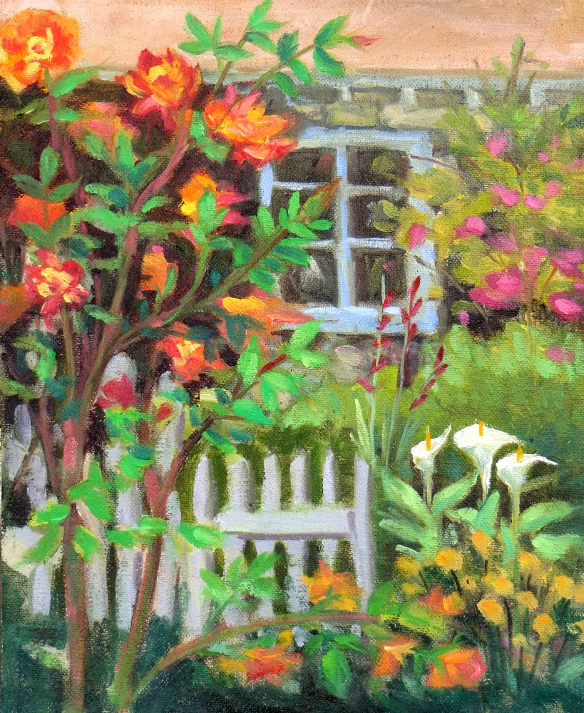 """By the Garden Gate at Tor House"" original fine art by Rhett Regina Owings"