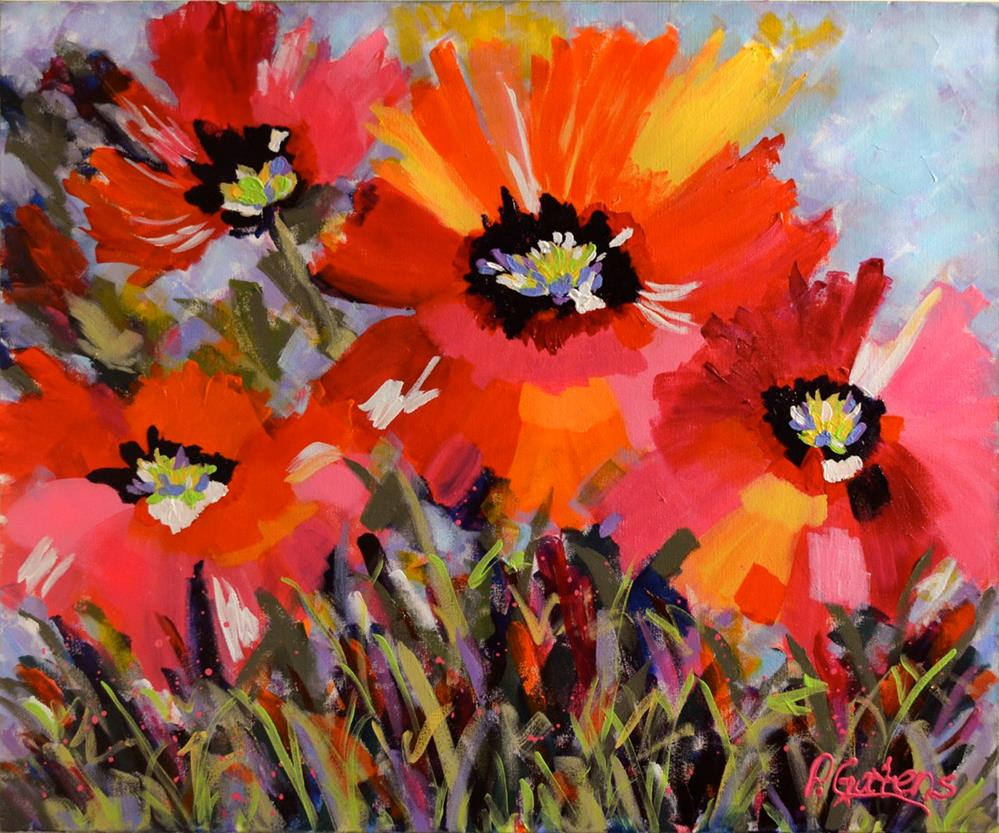 """Blue Sky Poppies"" original fine art by Pamela Gatens"