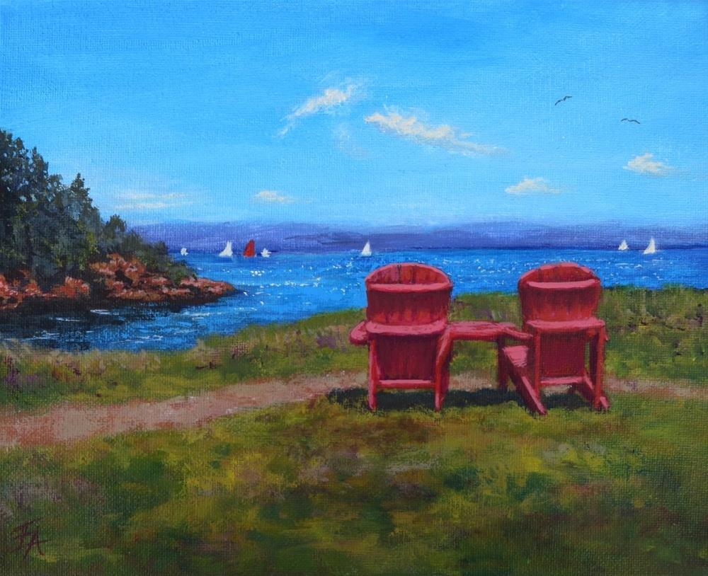 """Red Chair Afternoon"" original fine art by Elizabeth Elgin"