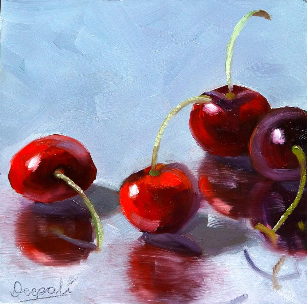"""Cherries"" original fine art by Dipali Rabadiya"