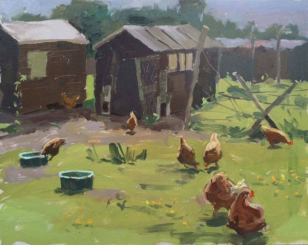 """""""Sunny afternoon with the hens"""" original fine art by Haidee-Jo Summers ROI"""