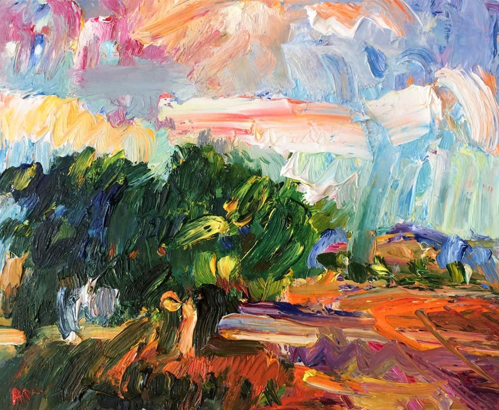 """Autumn Fields and Colorful Clouds"" original fine art by Anna Fine Art"