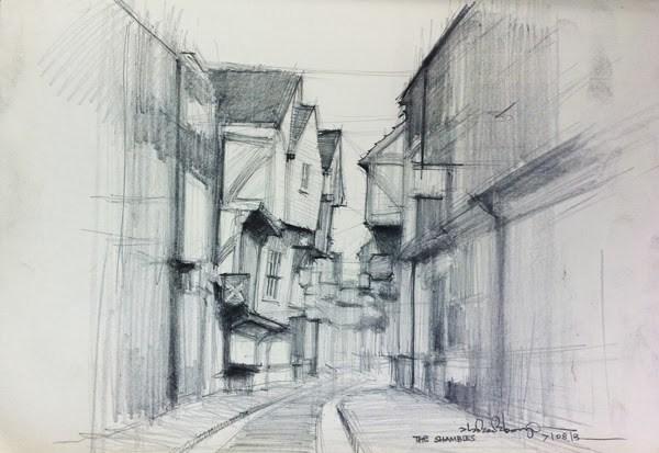 """The Shambles, York"" original fine art by Adebanji Alade"