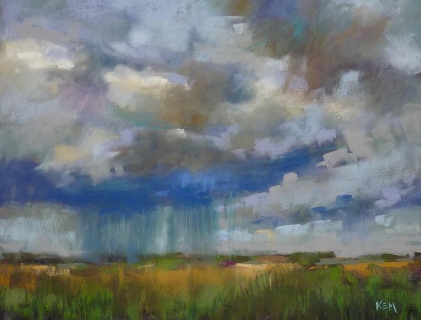 """How to Paint Rain with Pastels"" original fine art by Karen Margulis"