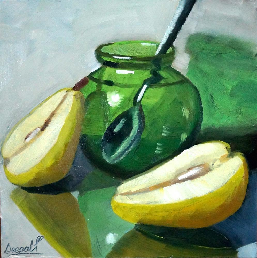 """Split Pear"" original fine art by Dipali Rabadiya"