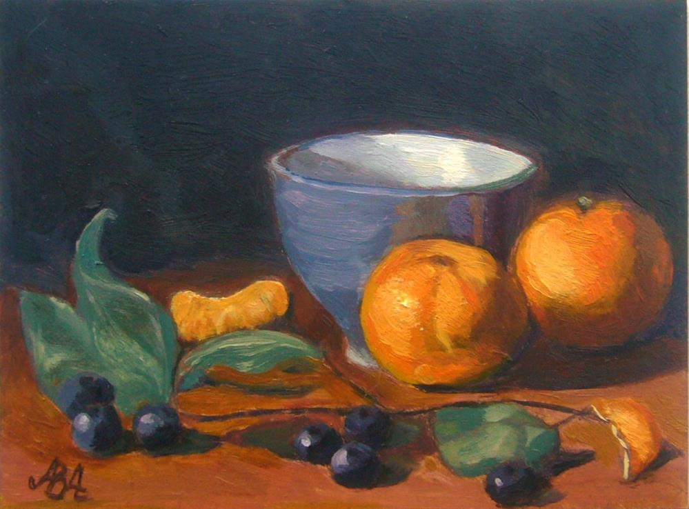 """Blue Cup with Clementines"" original fine art by Adriana B. Almquist"