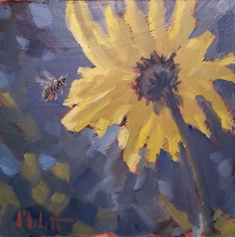 """Magnetic Personality Bumble Bee Sunflowers Impressionism Oil Painting"" original fine art by Heidi Malott"