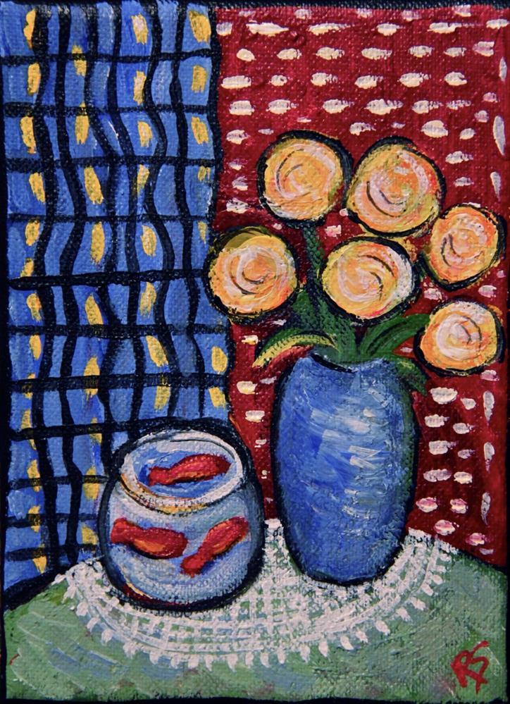 """Flowers and Fish"" original fine art by Roberta Schmidt"