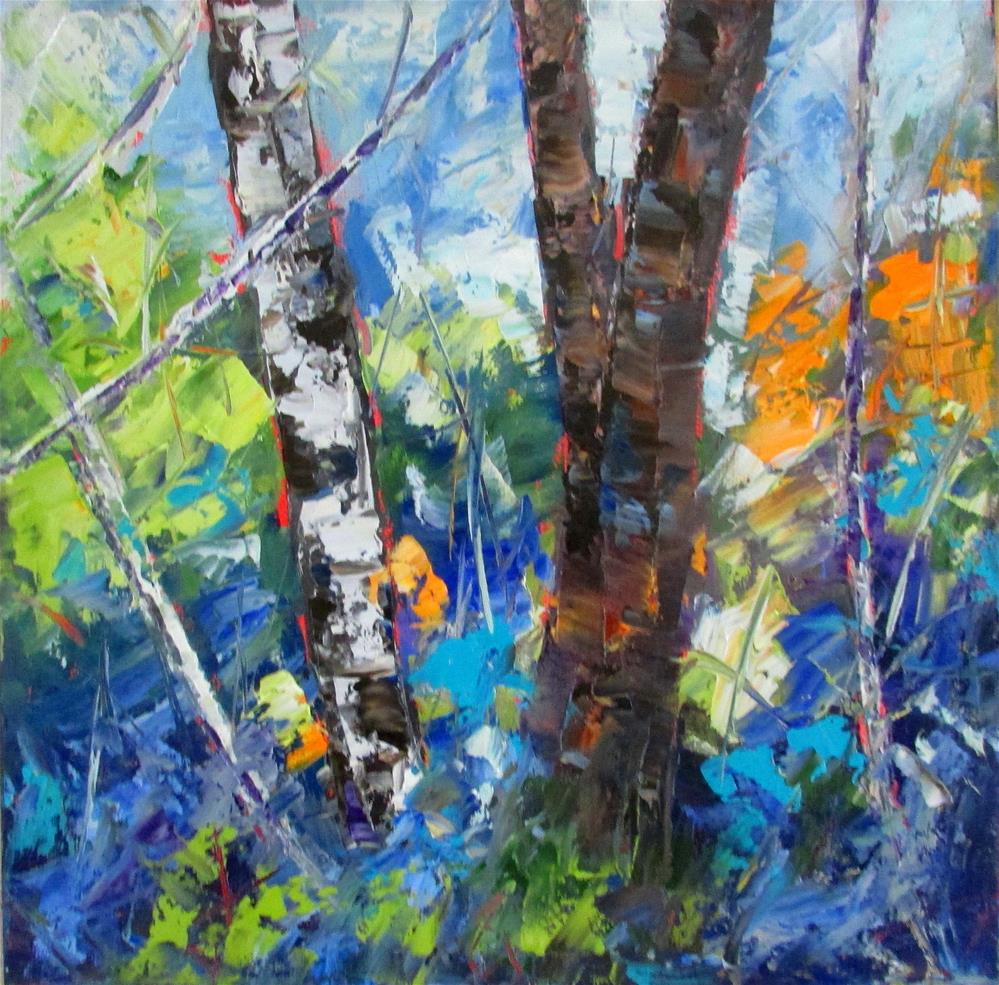 """12 x 12 inch Chunky Trees #1 oil"" original fine art by Linda Yurgensen"