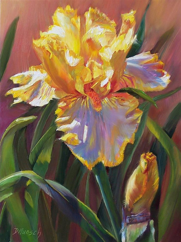 """Yellow Iris Heat"" original fine art by Donna Munsch"
