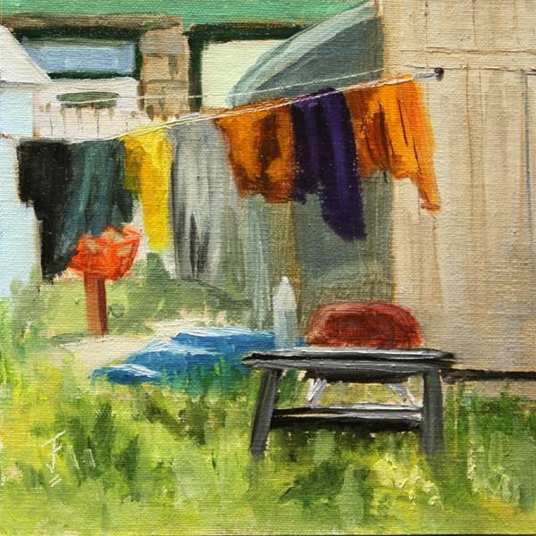 """""""Durango Wash Day"""" original fine art by Jane Frederick"""