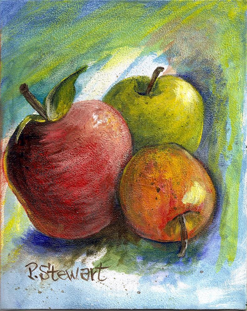 """8x10 Three Apples, Still Life, Acrylic on Canvas Board, Original not a print"" original fine art by Penny Lee StewArt"