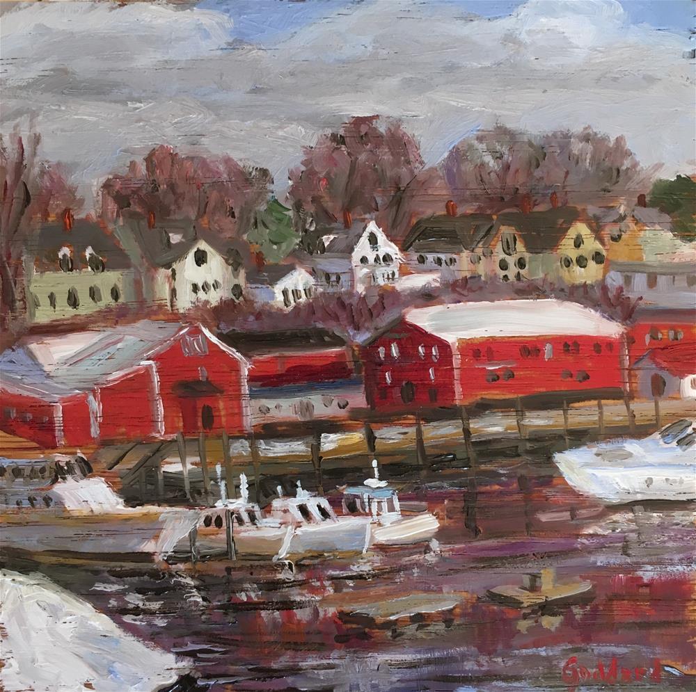 """Harbor in Winter"" original fine art by Shari Goddard Shambaugh"