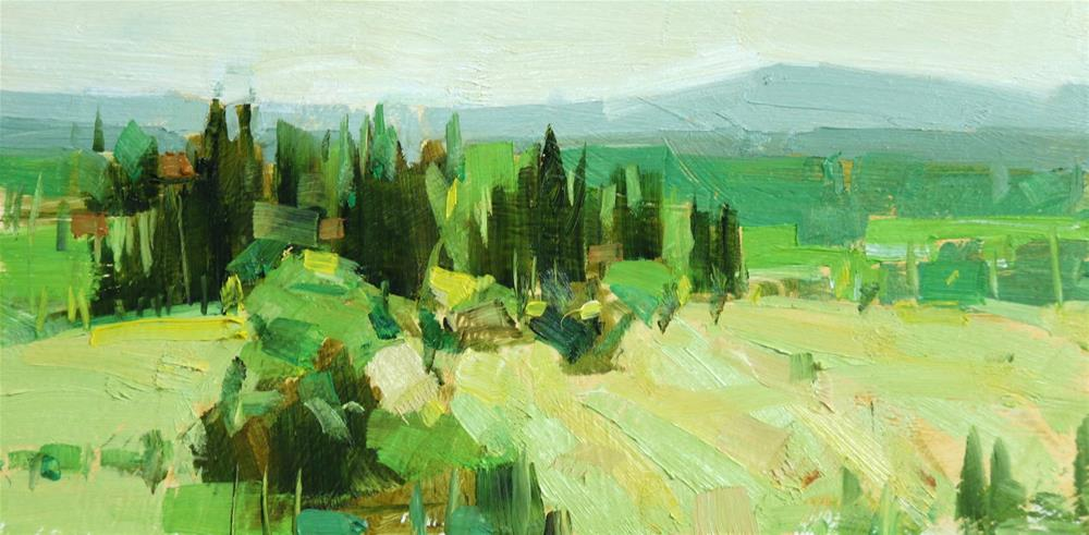 """Tuscany in yellow"" original fine art by Qiang Huang"