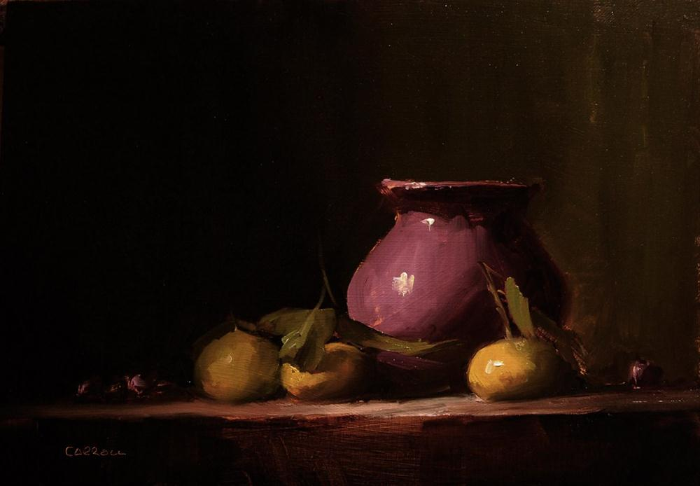 """Vase with Early Season Clementines"" original fine art by Neil Carroll"