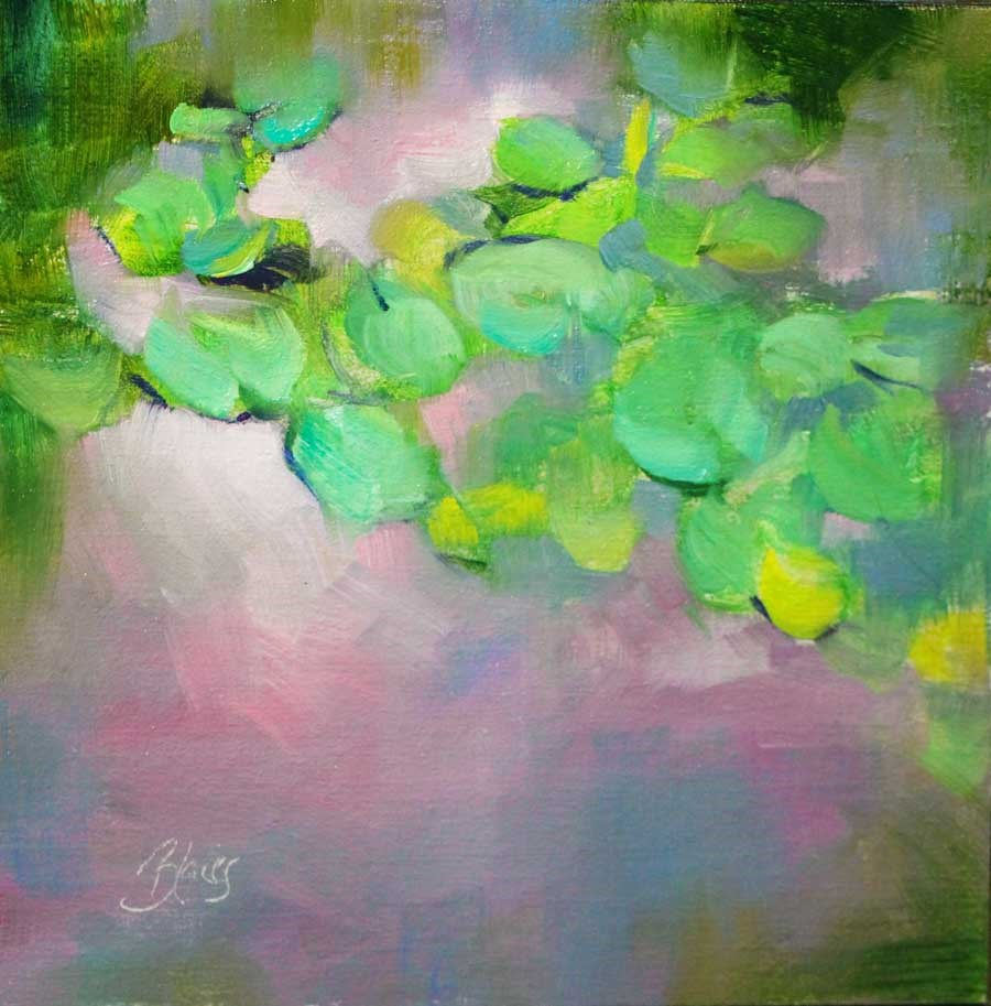"""Pink Clouds and Water Lilies"" original fine art by Pamela Blaies"
