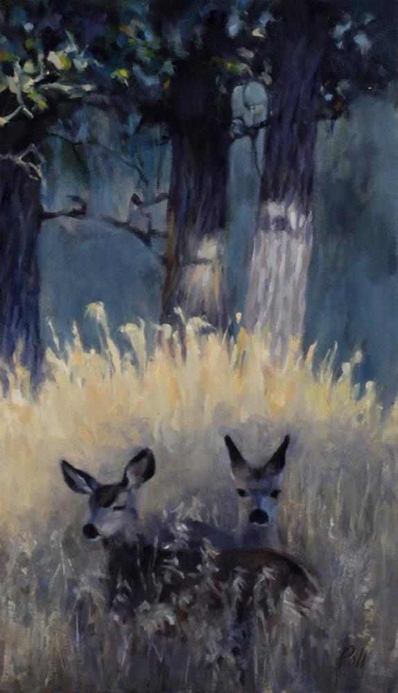 """Fawns in Shadow (framed)"" original fine art by Pamela Poll"