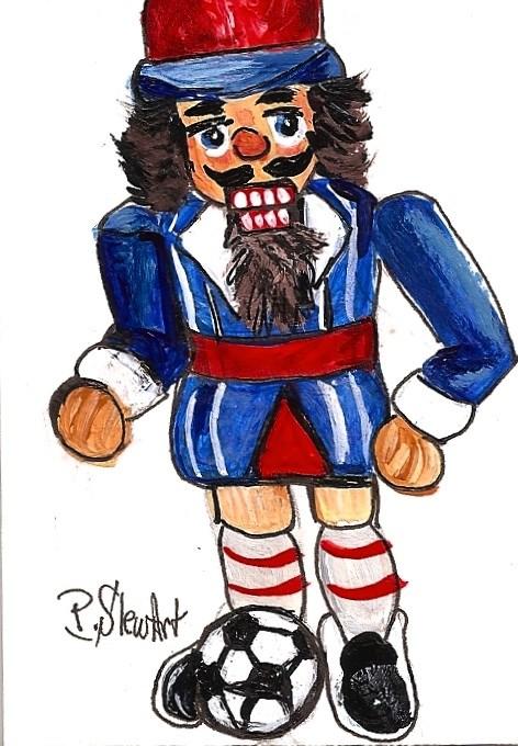 """ACEO Nutcracker Painting Soccer Dude Red White Blue Xmas Art Penny StewArt"" original fine art by Penny Lee StewArt"