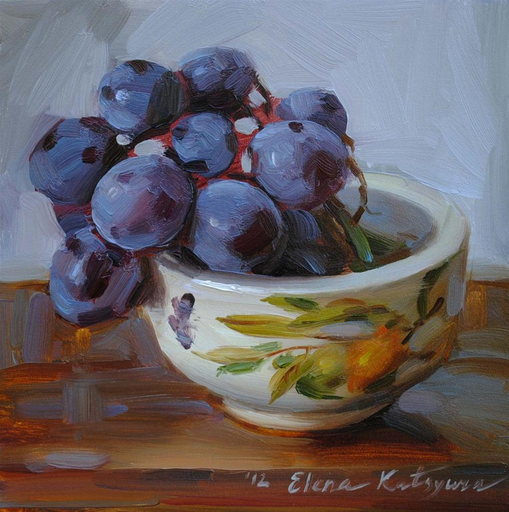 """A Bowl of Grapes"" original fine art by Elena Katsyura"