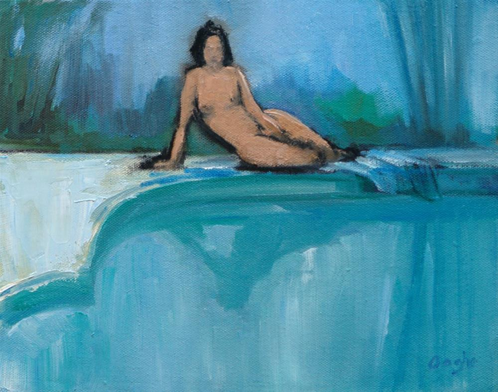 """Nude by Pool"" original fine art by Angela Ooghe"