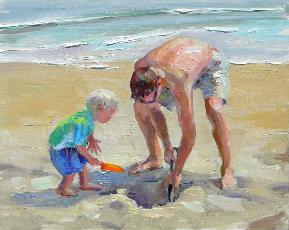 """""""Sand Digging with Dad,figures,oil on canvas,8x10 price$375"""" original fine art by Joy Olney"""