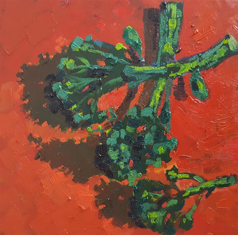 """Broccoli Party - Small Oil Painting by Bhavna "" original fine art by Bhavna Misra"