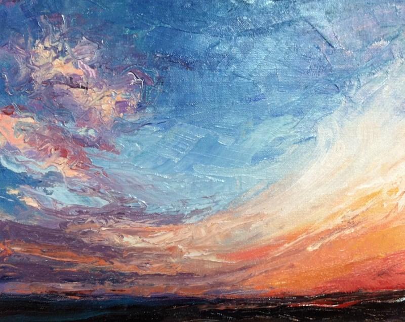 """Sunset at Menemsha"" original fine art by Lynne Schulte"