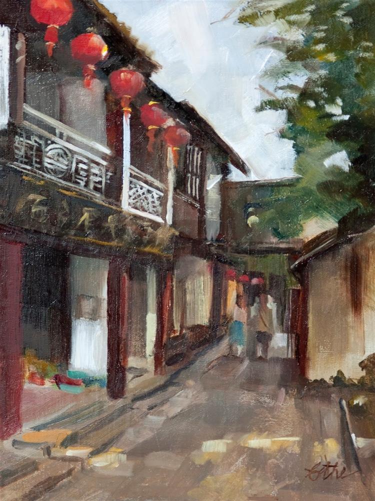"""""""Red Lanterns of Zhouzhaung"""" original fine art by Beth Bathe"""