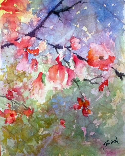 """""""Cherry Branch"""" original fine art by Sue Dion"""
