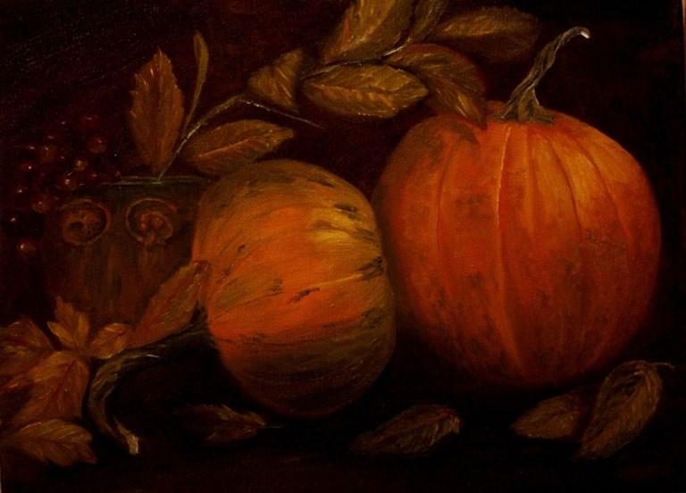 """""""Pumpkins"""" original fine art by Mary Datum"""
