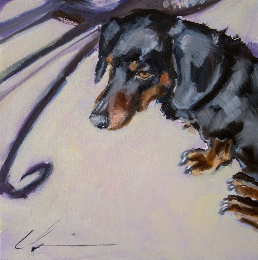 """Cafe Dog"" original fine art by Clair Hartmann"